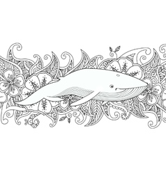 Coloring page with whale in the sea on flower vector