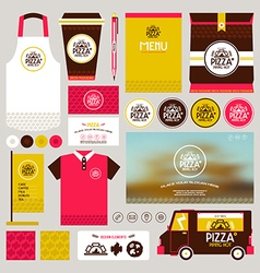 Concept for pizzeria identity mock up template vector image