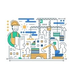 Construction Site - line design composition vector image