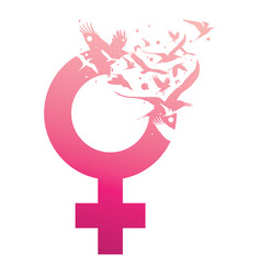 Creative venus female sign with flying birds vector