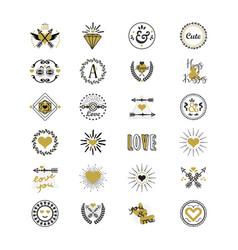 Cute black and golden love and heart emblem set vector
