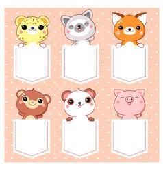 cute cartoon animals pocket set vector image