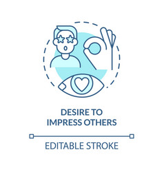Desire to impress others blue concept icon vector