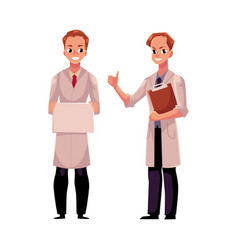 doctors in medical coats holding blank sign vector image