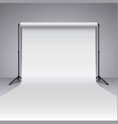 Empty white photo studio backdrop realistic vector