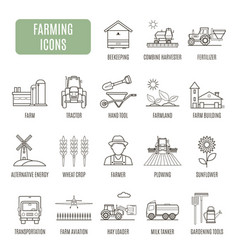 Farming icons set of pictograph vector