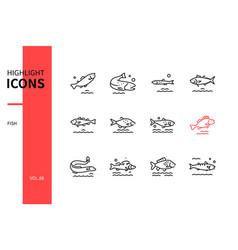 fish - modern line design style icons set vector image