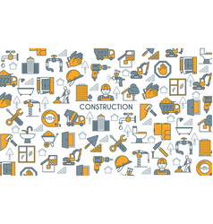 flat line design construction banner vector image