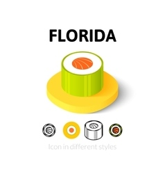 Florida icon in different style vector image