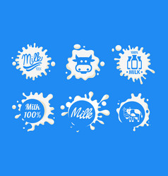 fresh natural milk logo templates set organic vector image