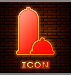 Glowing neon condoms safe sex icon isolated on vector