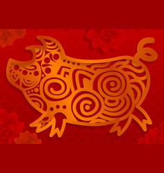 gold pig chinese year concept banner cartoon vector image