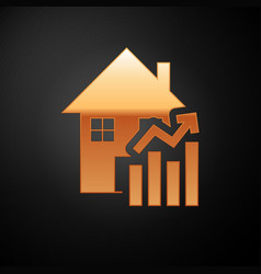 Gold rising cost housing icon isolated on black vector