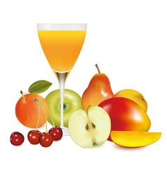 group of fruit with glass vector image