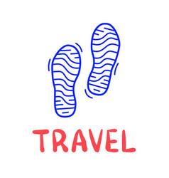 hand draw doodle simple two step travel camp icon vector image