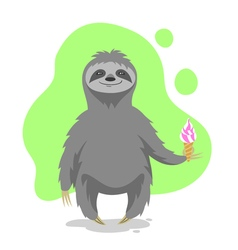 Happy cute sloth holding an ice cream in his hand vector