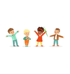 Happy little kids standing and smiling set vector
