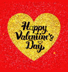 happy valentines day glitter postcard vector image