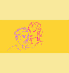 he and she pair two faces continuous line vector image