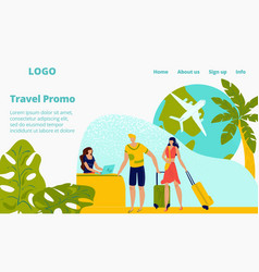 Hotel booking reservation for travellers people on vector