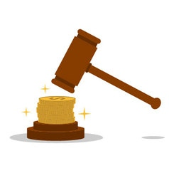 Isolated cartoon law hammer and bribery vector