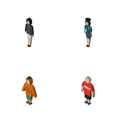 isometric people set of girl policewoman guy and vector image