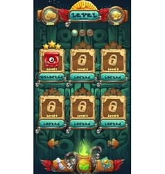 Jungle shamans mobile GUI level selected vector