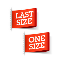 Last size and one size clothing labels vector