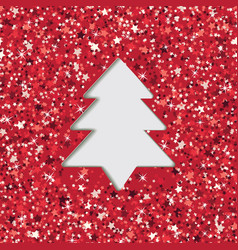 layered cut out paper greeting card with christmas vector image