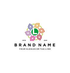Letter l leaf colorful logo design and business vector