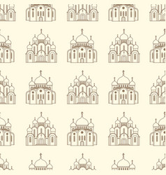 line orthodox church buildings seamless pattern vector image