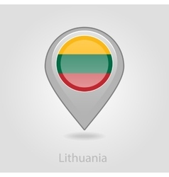Lithuanian flag pin map icon vector image