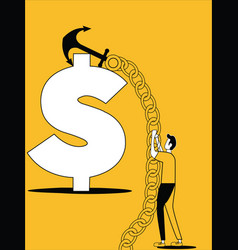 man hunting the dollar with ship anchor vector image