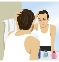 Man worried about hair loss looking in mirror vector
