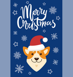Merry christmas and dog icon vector