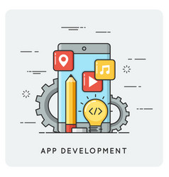 Mobile application development flat vector