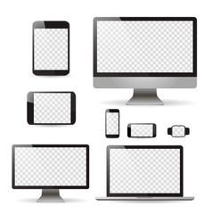 mockup set realistic monitors laptop tablet and vector image