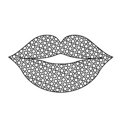 Monochrome silhouette of lips with dots vector