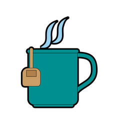 Mug with tea bag icon image vector