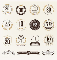 Multiple years anniversary celebration logotype vector