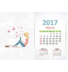 nice young woman is reading a book fun Calendar vector image