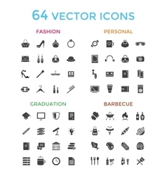 objects icons set Fashion Education or vector image