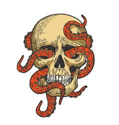 octopus in human skull color sketch vector image