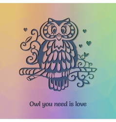 Owl om the branch silhouette with funny statement vector