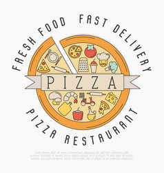 Pizza logo with thin line icons for menu design vector