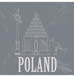 Poland landmarks Retro styled image vector image