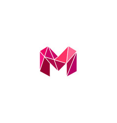 Polygonal trend letter m logotype color vector