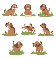 Puppy installed funny cartoon puppy in different vector