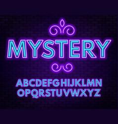Purple blue neon alphabet on a dark background vector