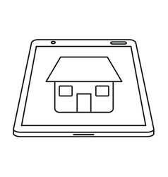 Real estate tablet app design line vector